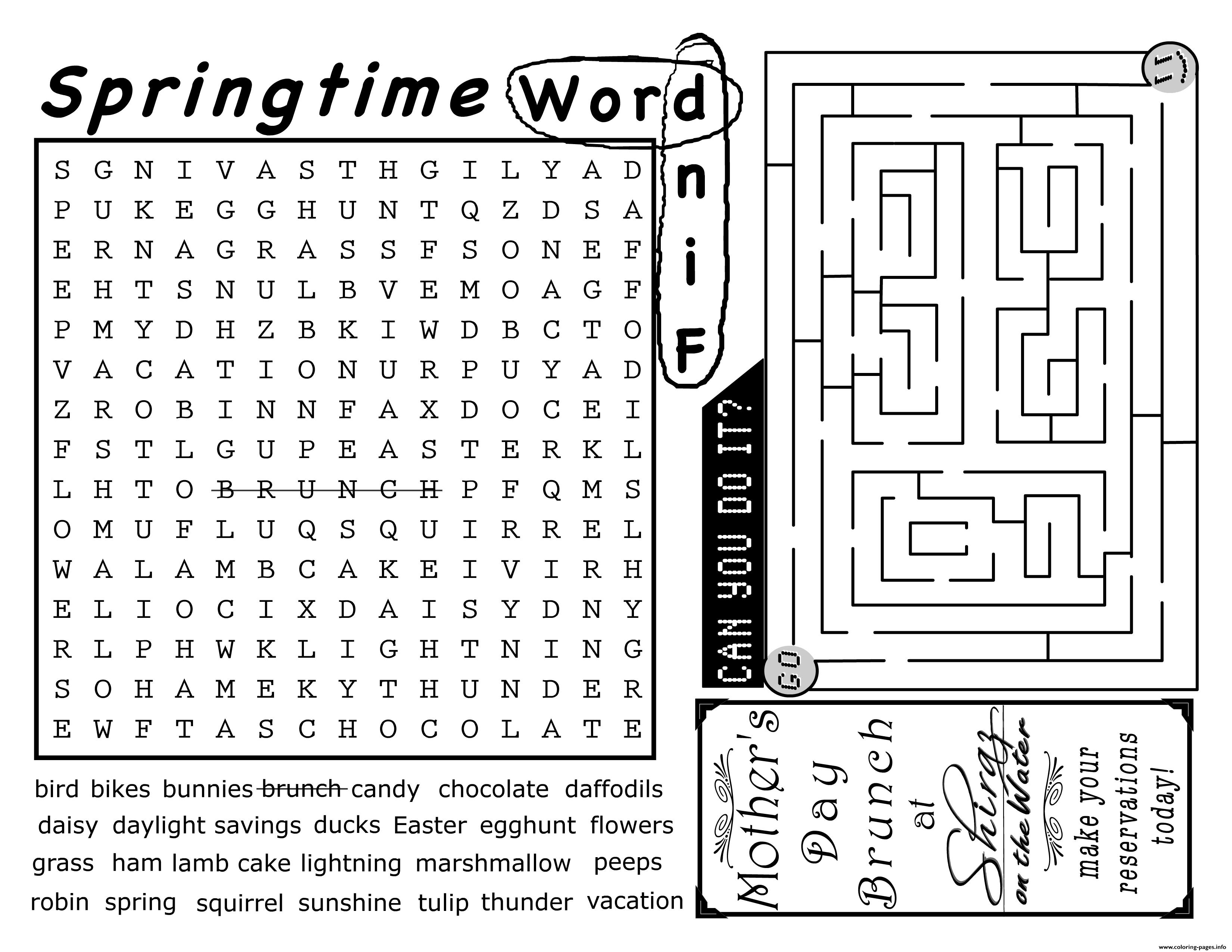 Springtime Word Find Activity Sheet Coloring Pages Printable