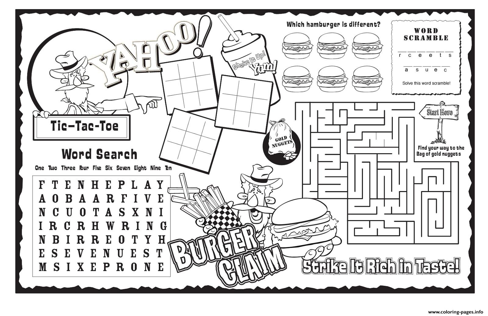 Burger Claim Kids Activity Sheet Free Coloring Pages Printable