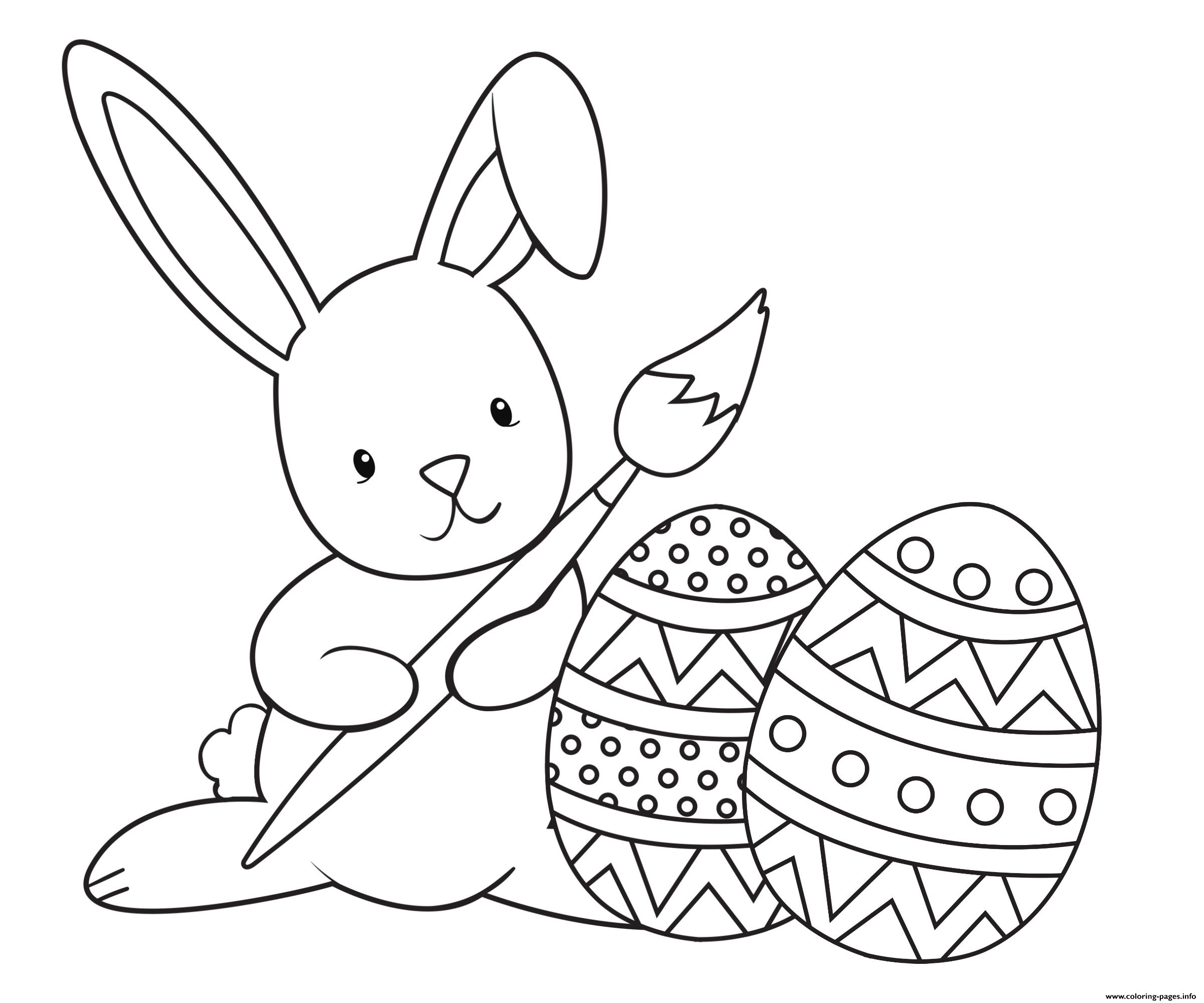 Graceful Easter Bunny Paint Coloring Pages Printable