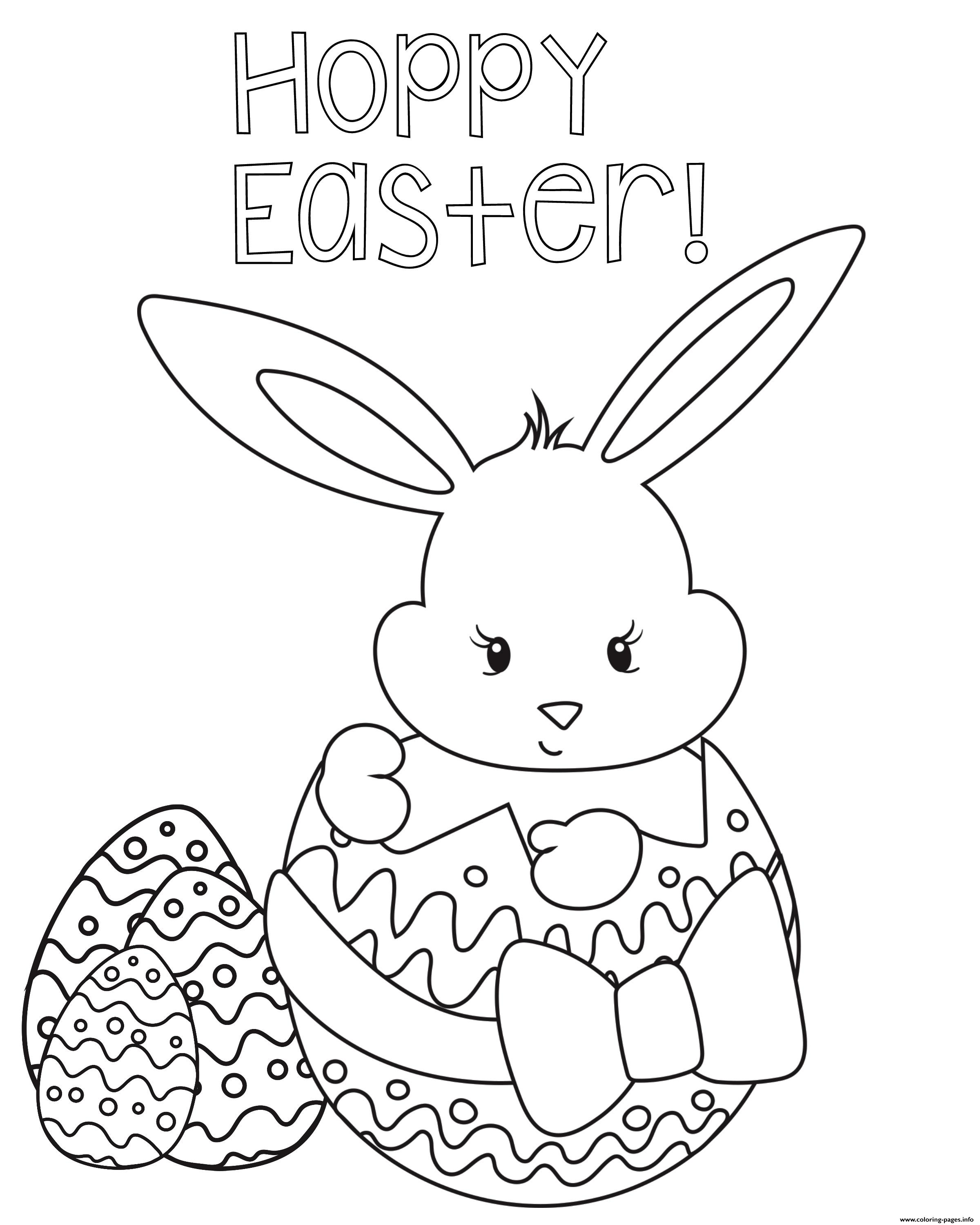Happy Easter Egg Rabbit Coloring Pages Printable