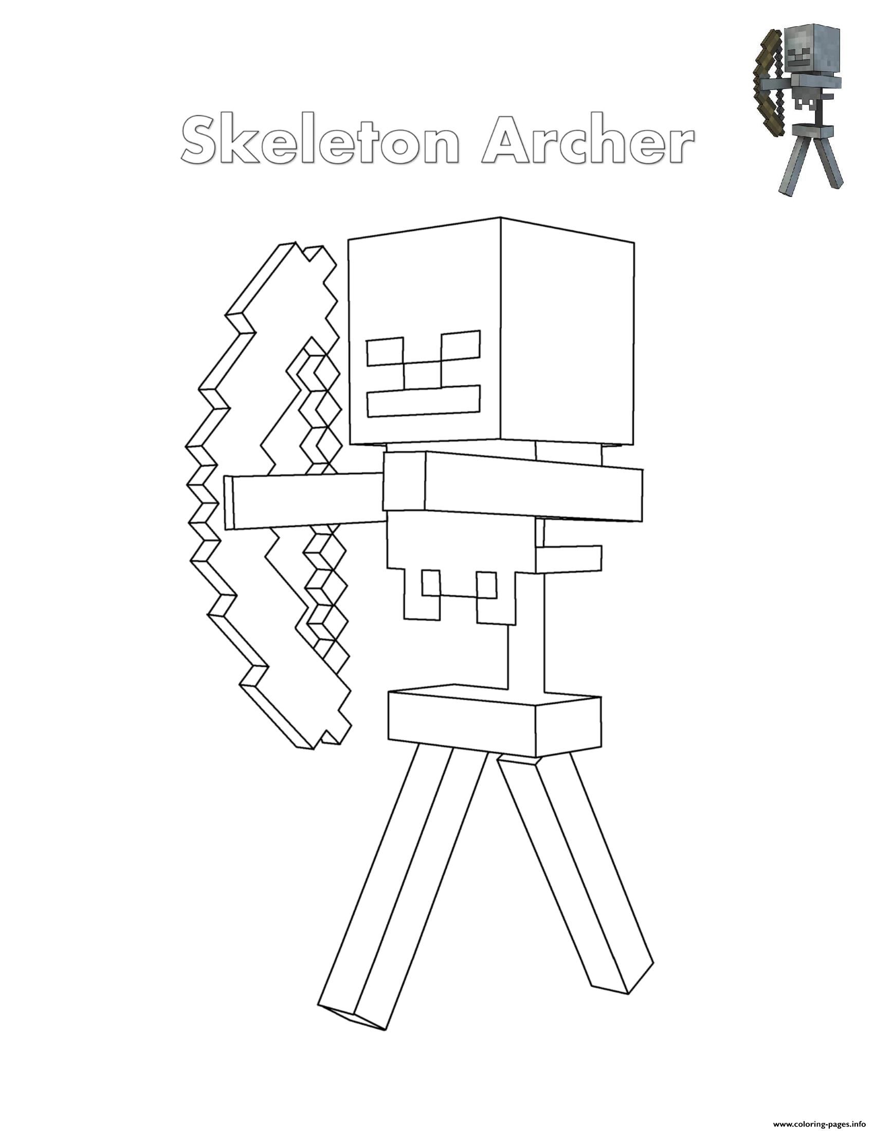 Skeleton Archer Minecraft Coloring Pages Printable