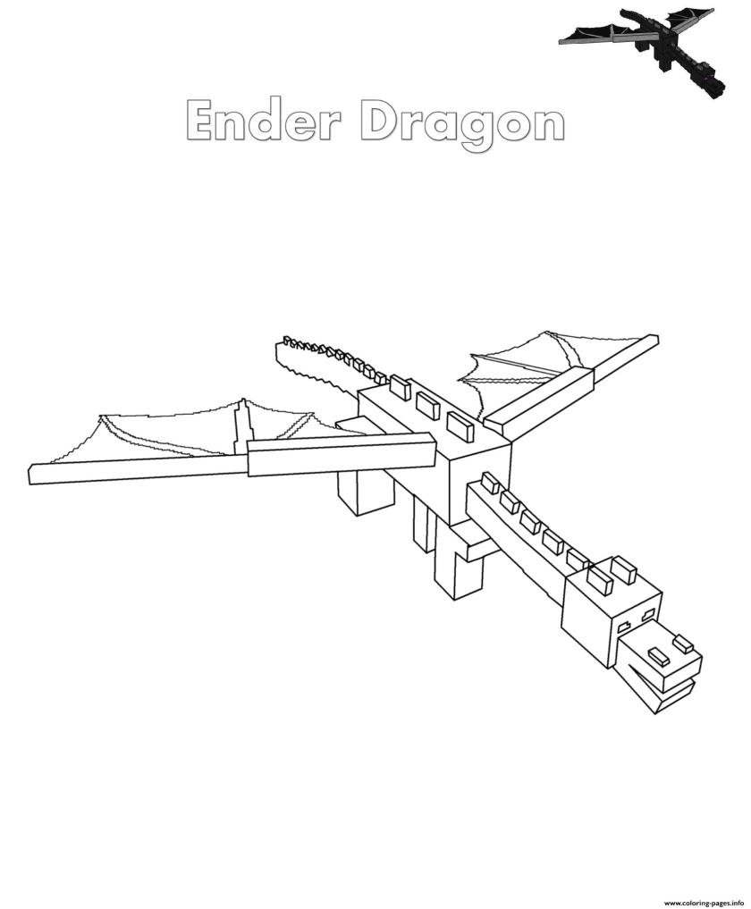 ender dragon minecraft coloring pages printable