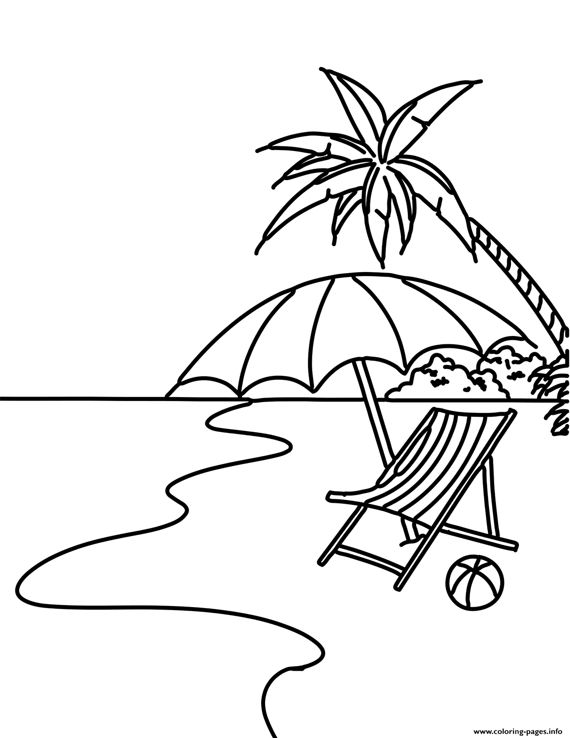 Summer Beach Scene Coloring Pages Printable