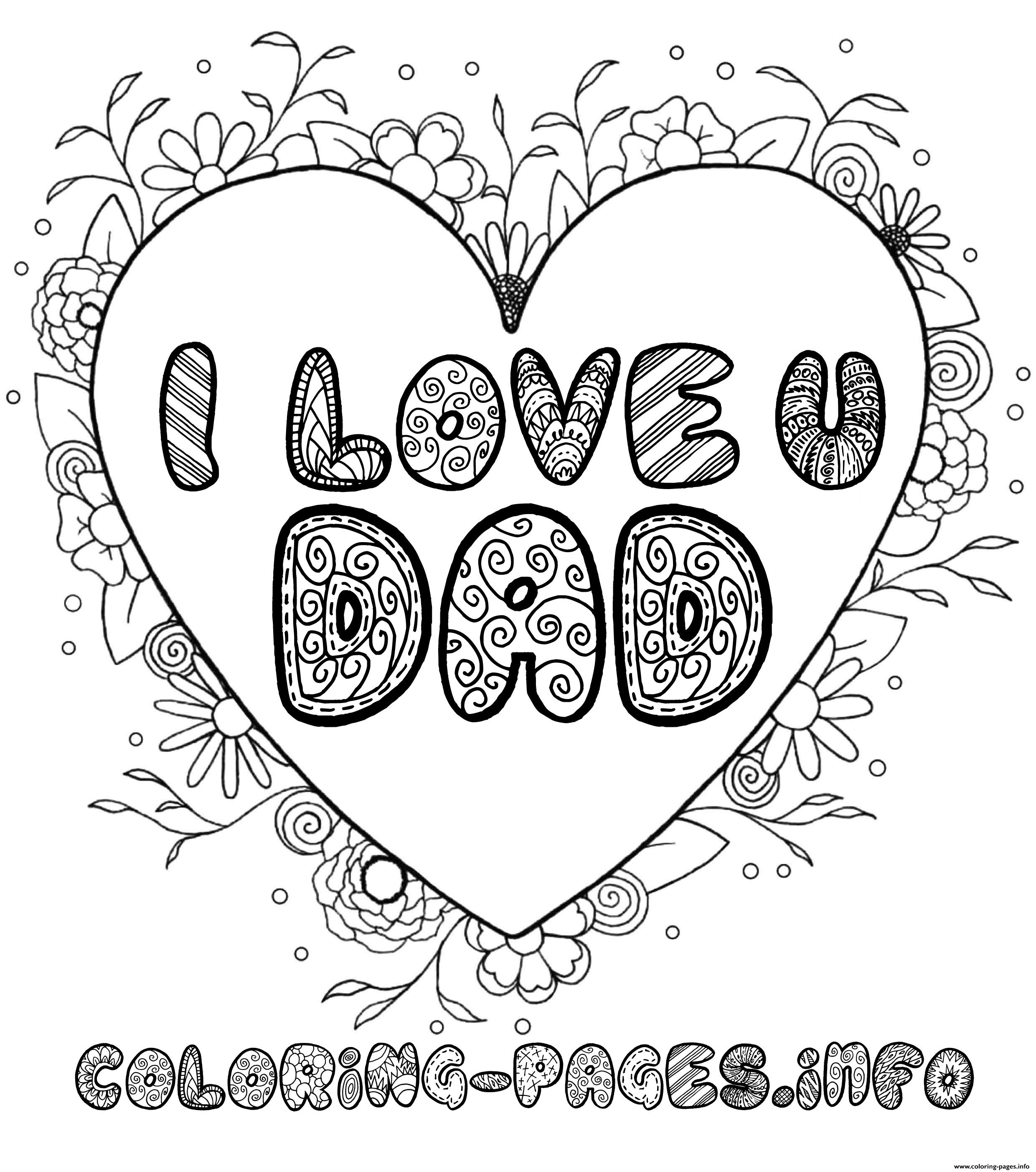 Fathers Day I Love You Dad Coloring Pages Printable