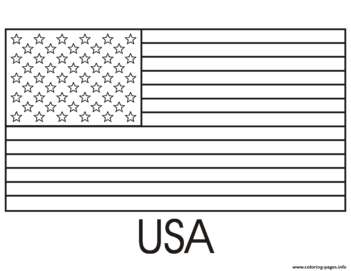 Usa Flag Easy Coloring Pages Printable