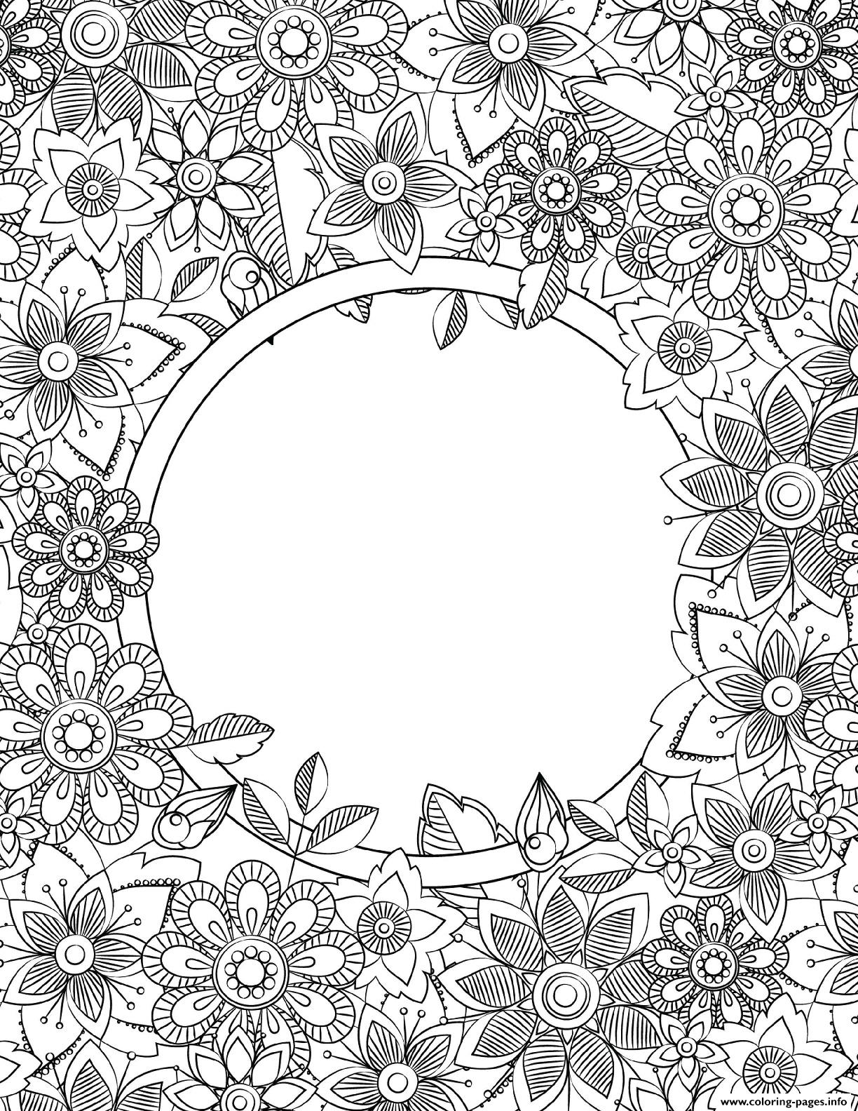 Binder Cover Adult Flowers Coloring Pages Printable