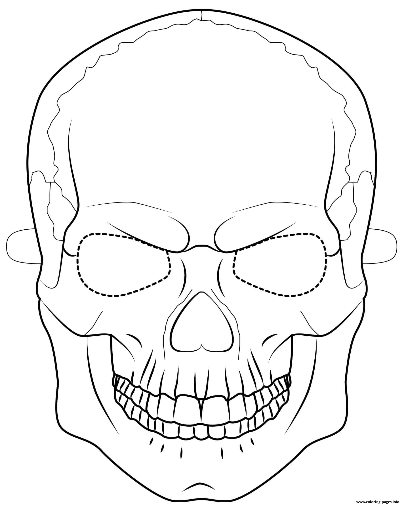 Skull Mask Outline Halloween Coloring Pages Printable