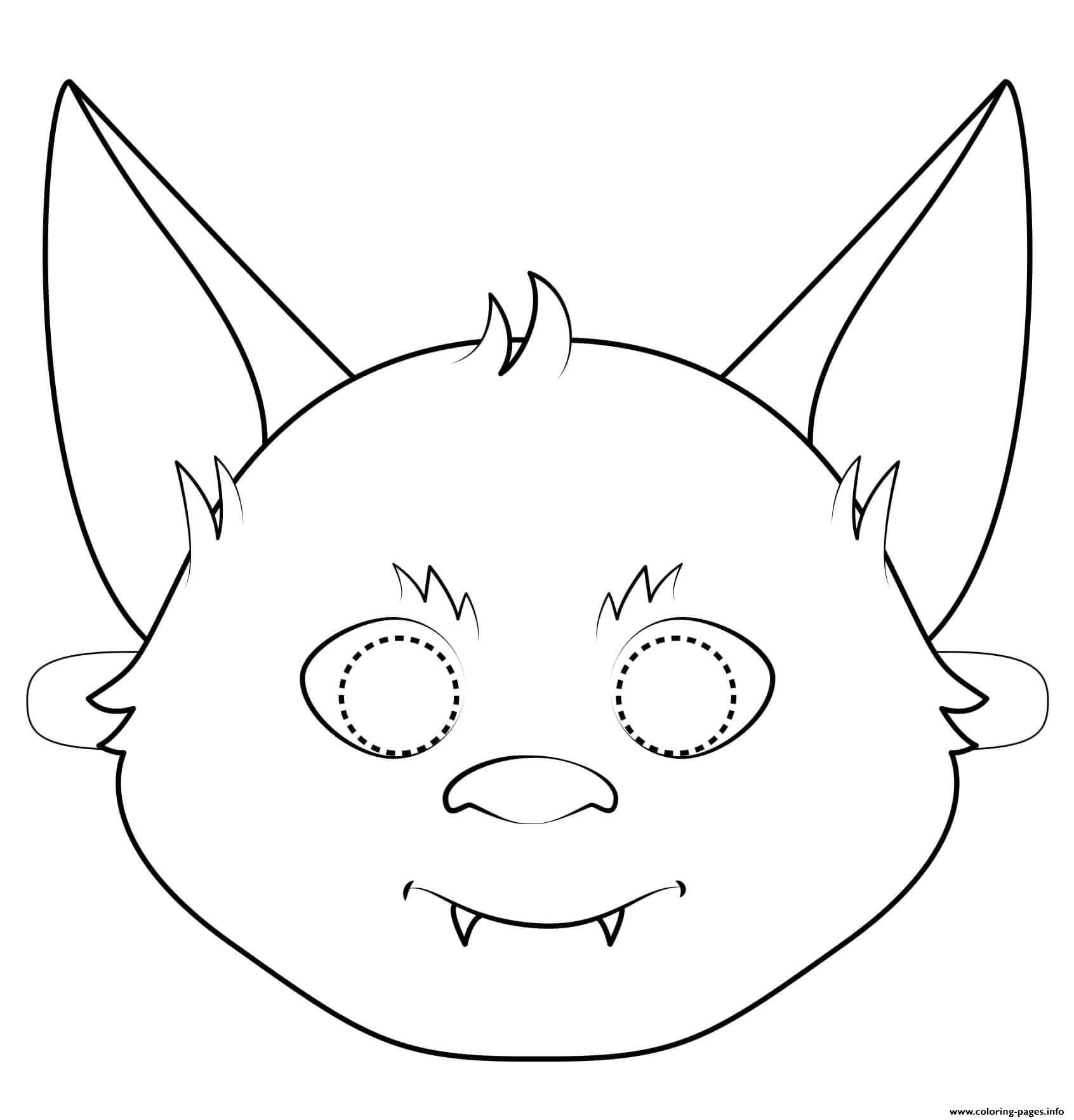 Bat Mask Outline Halloween Coloring Pages Printable