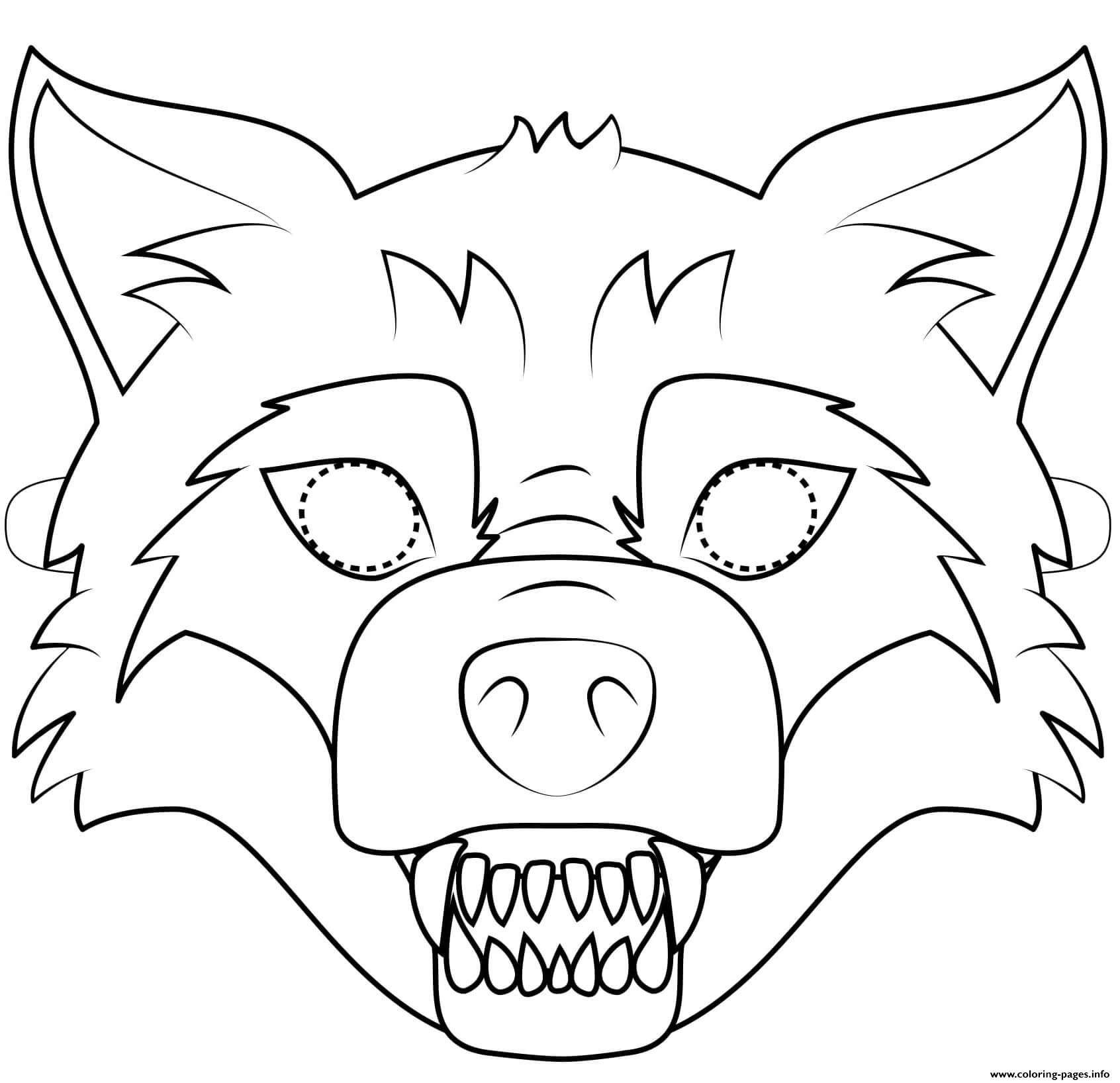 Big Bad Wolf Mask Outline Halloween Coloring Pages Printable