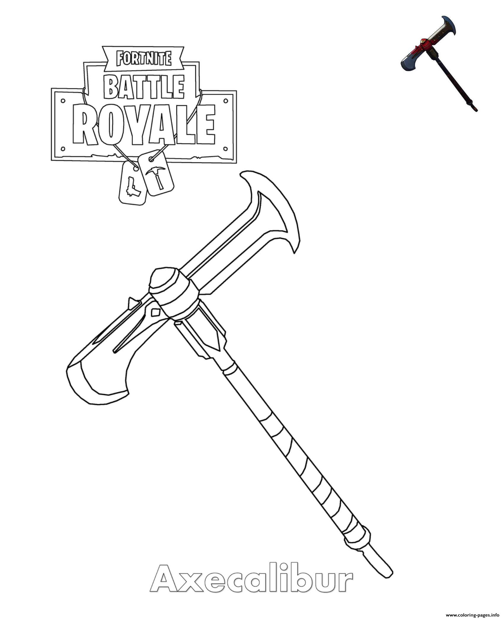 Axecalibur Fortnite Item Coloring Pages Printable