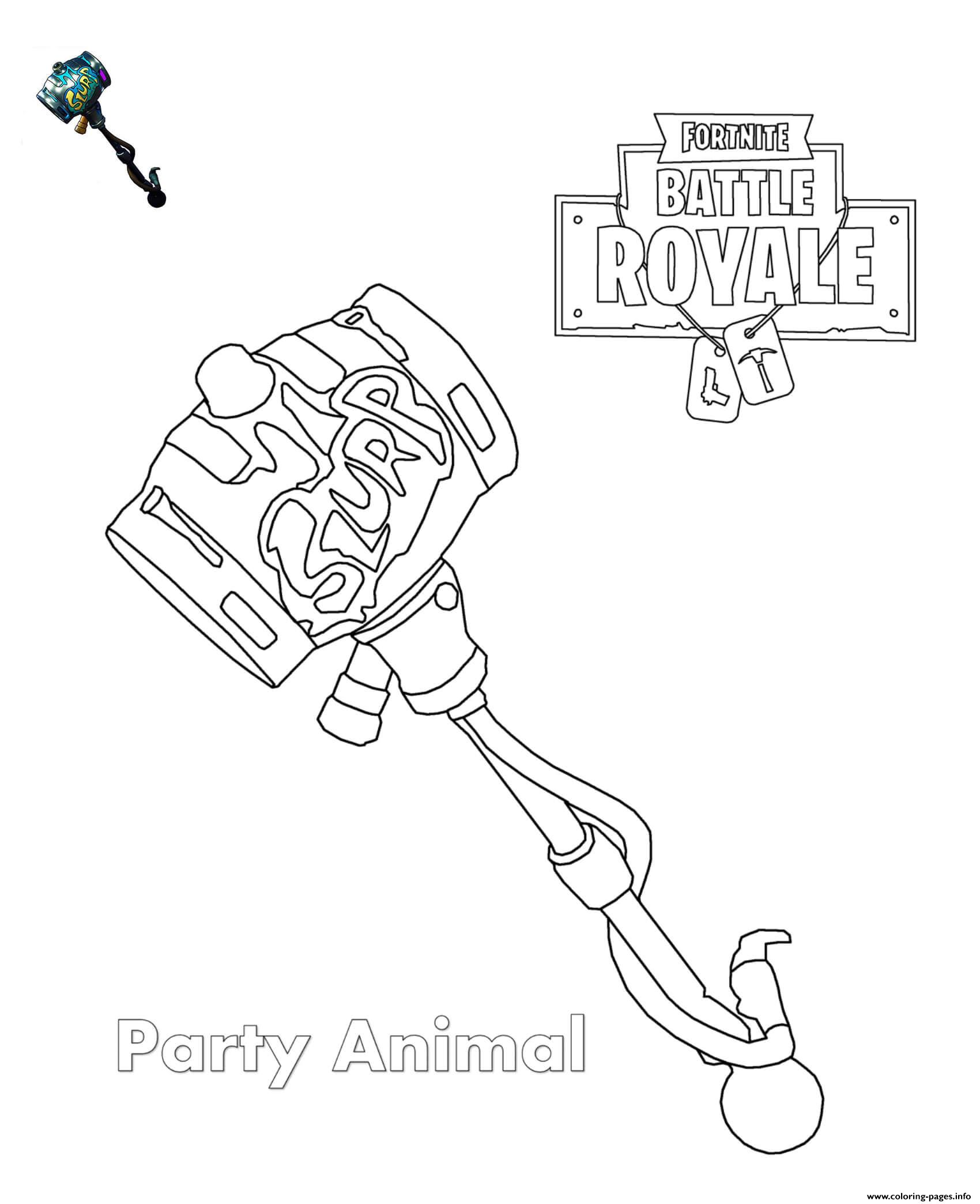 Party Animal Fortnite Coloring Pages Printable