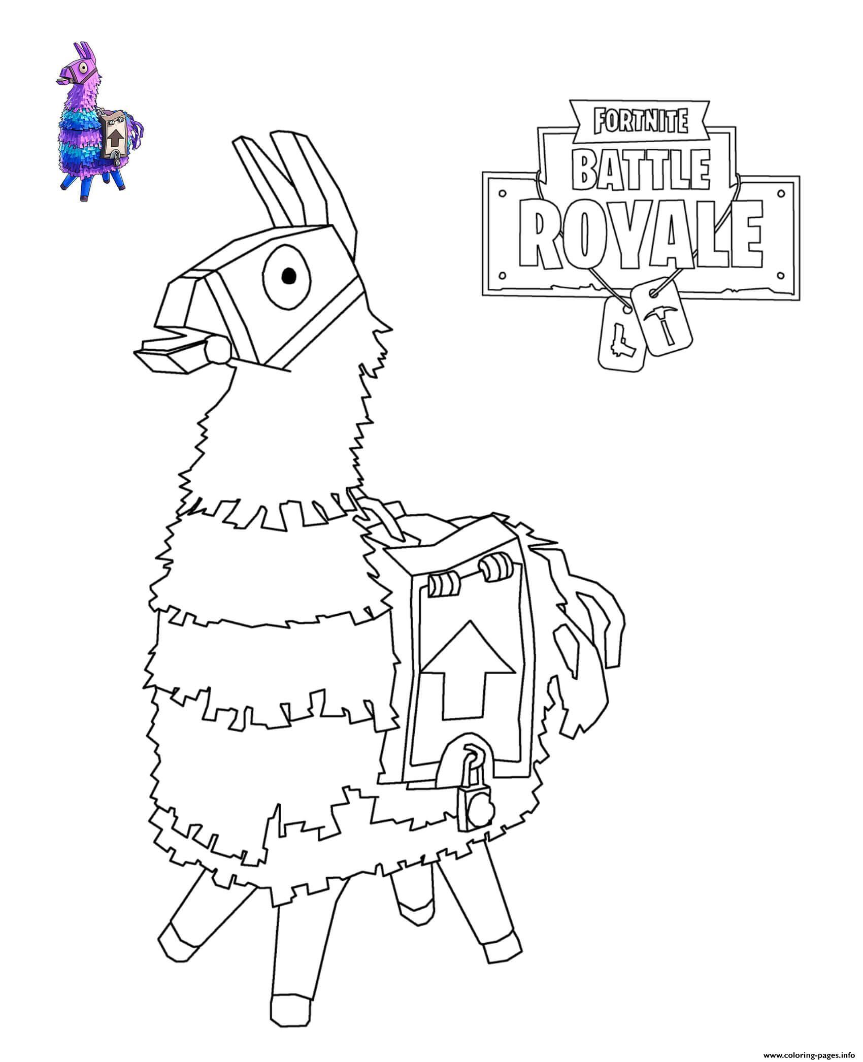 Llama Fortnite Coloring Pages Printable