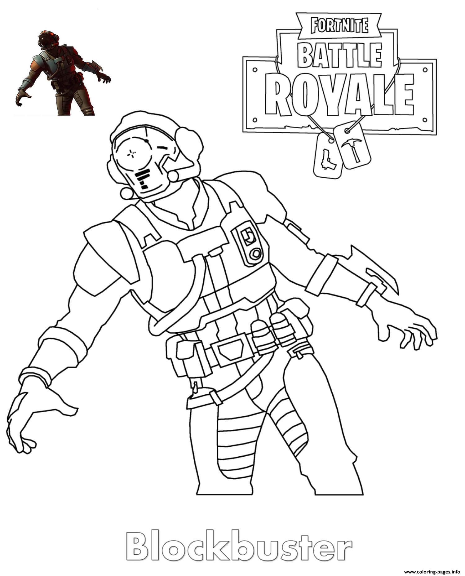 Blockbuster Fortnite Skin Coloring Pages Printable