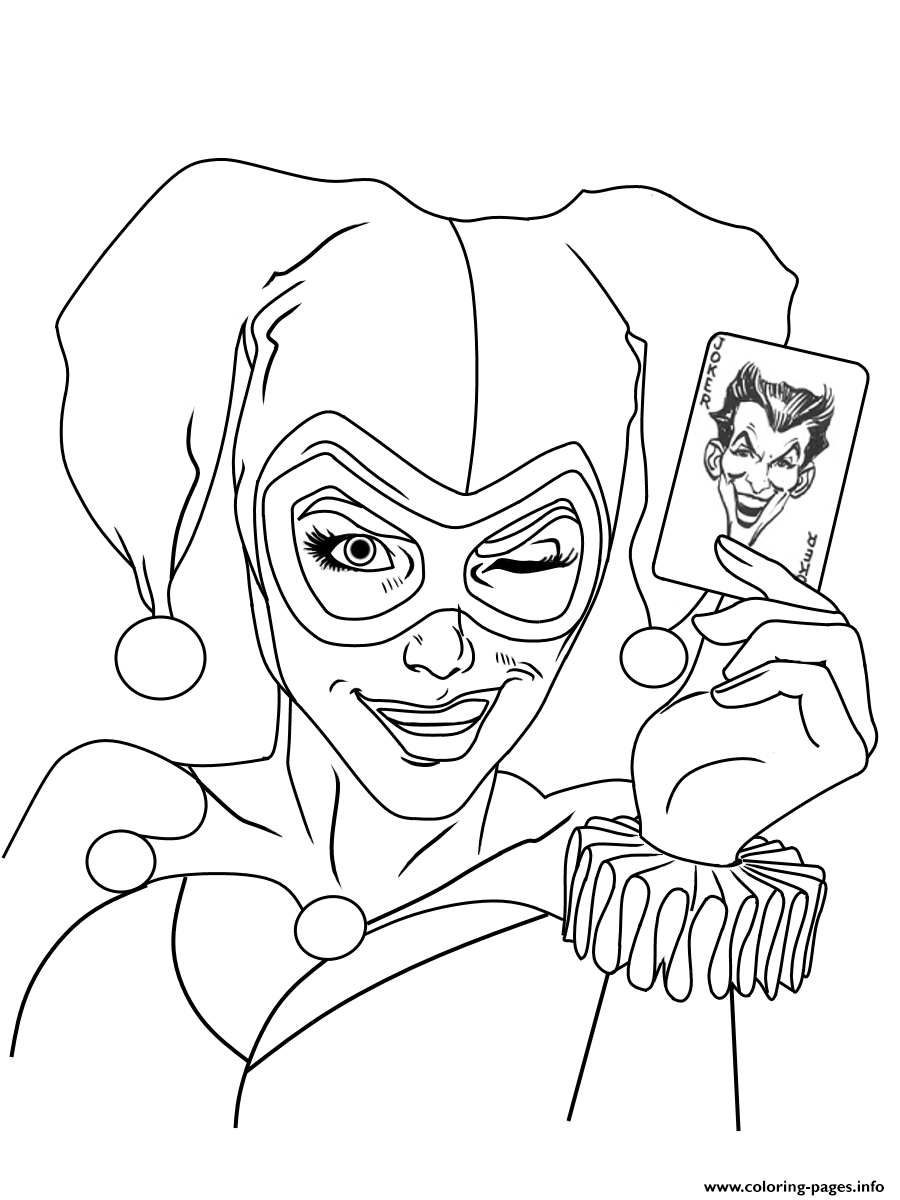 Harley Quinn Joker Card Dc Universe Coloring Pages Printable