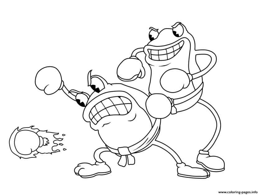 cuphead frogs fight coloring pages printable