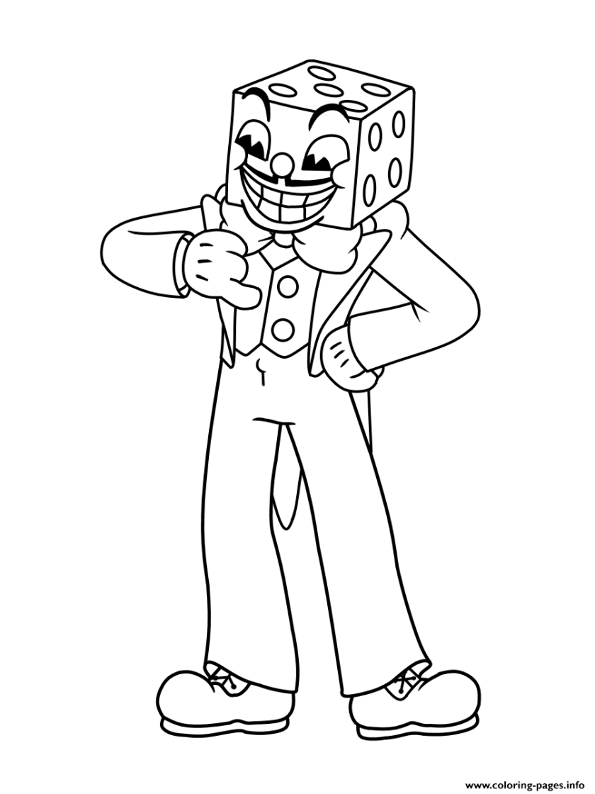 cuphead king dice boss coloring pages printable
