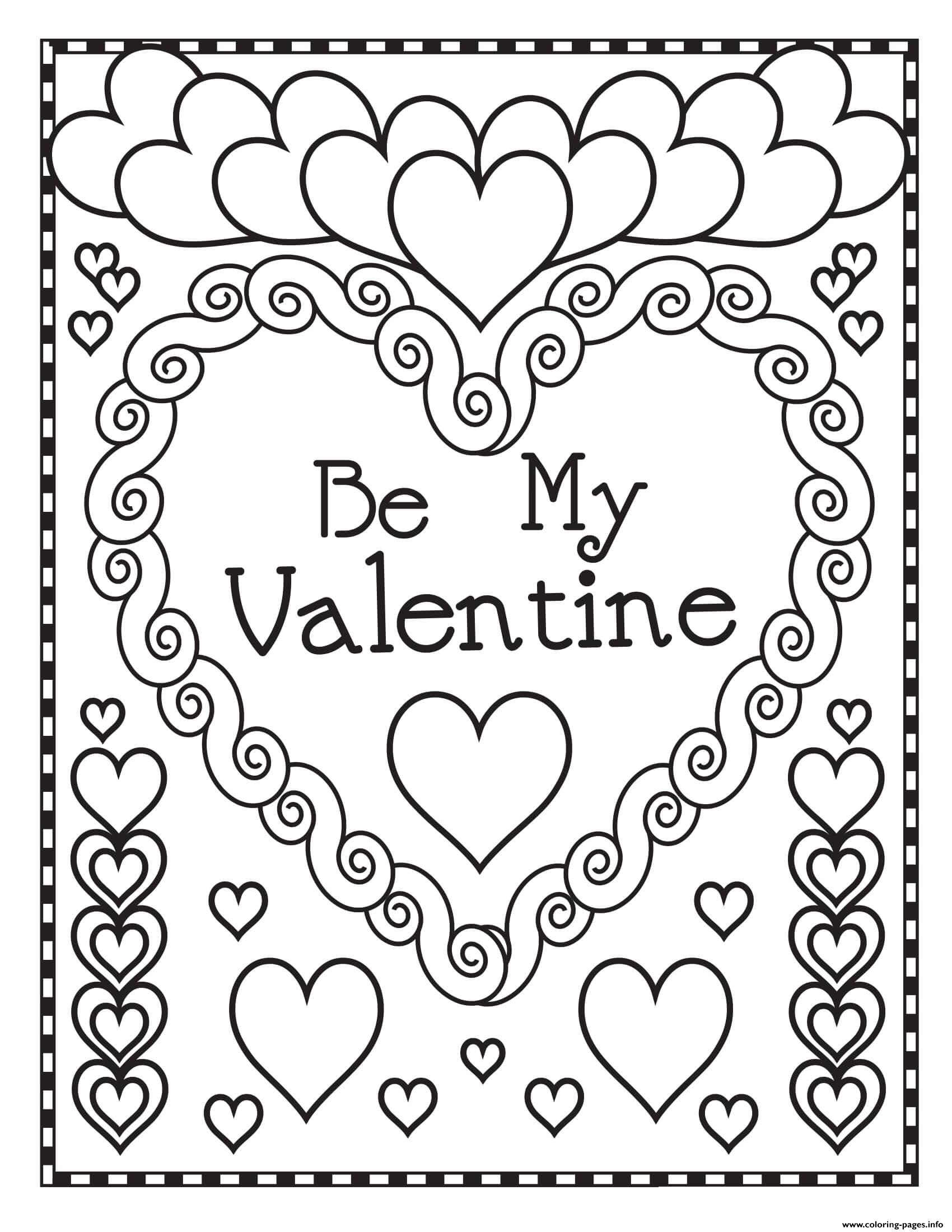 Mandala Heart Be My Valentine Coloring Pages Printable