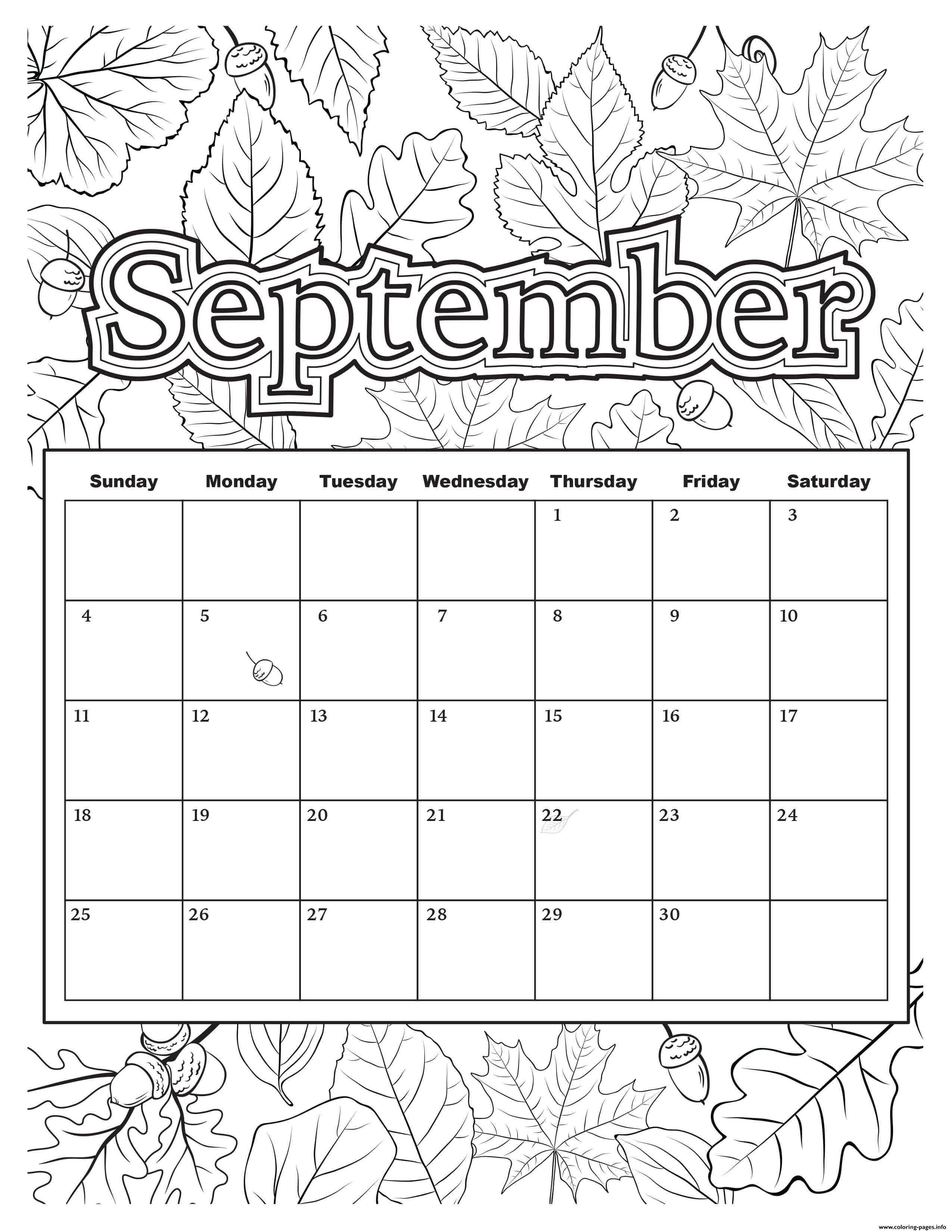 September Coloring Calendar Coloring Pages Printable