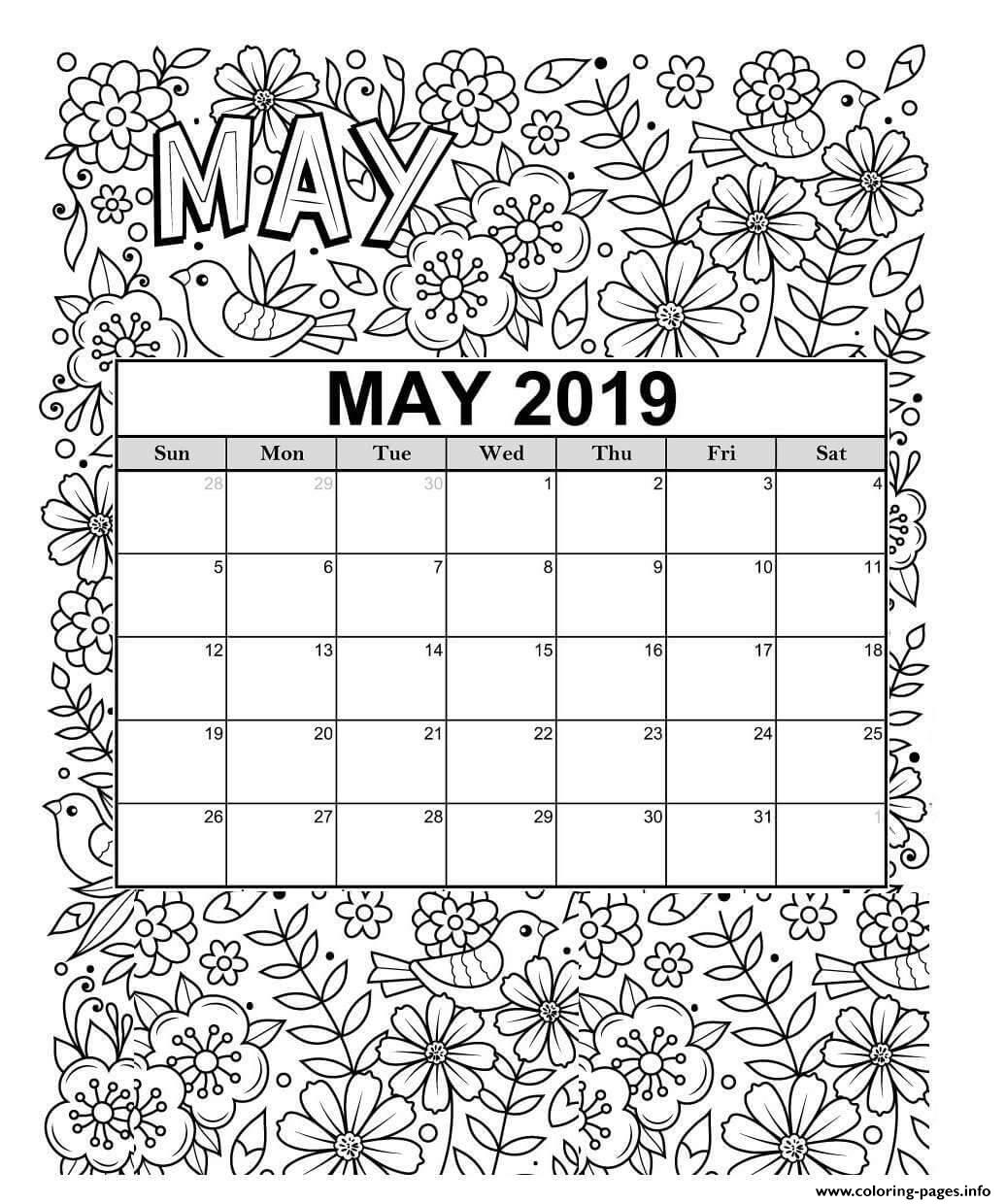 May Calendar Summer Coloring Pages Printable