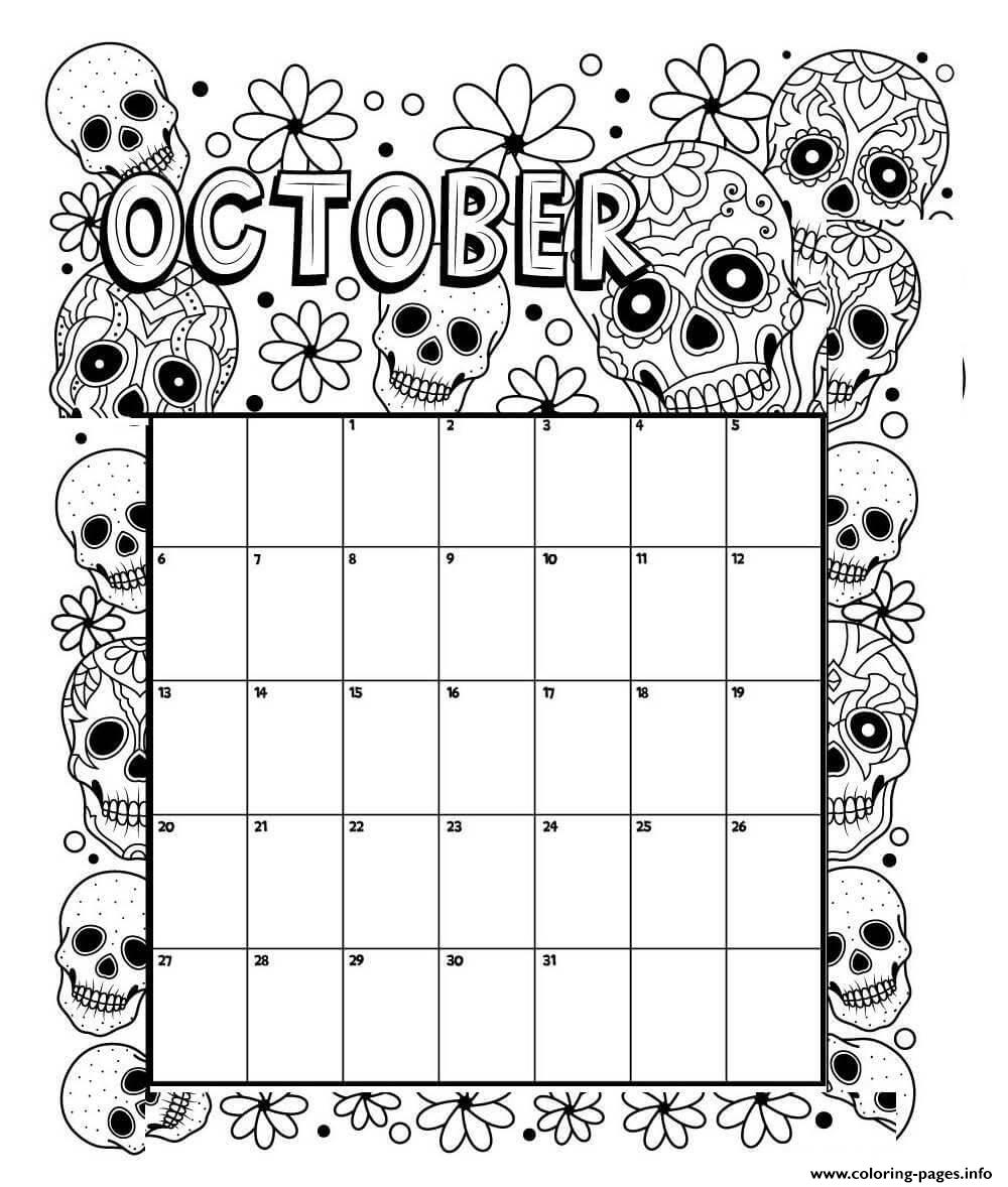 October Coloring Calendar Coloring Pages Printable