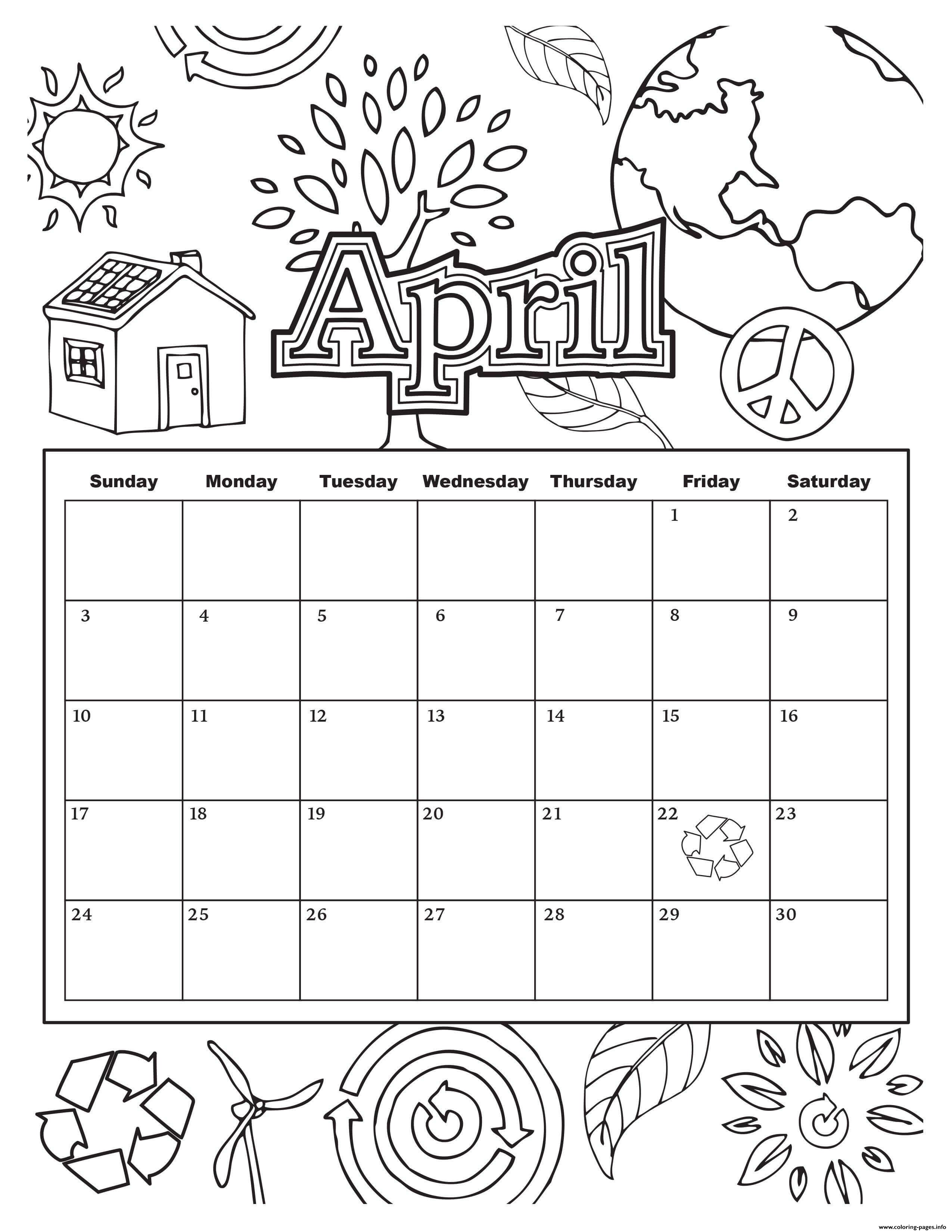 April School Calendar Coloring Pages Printable