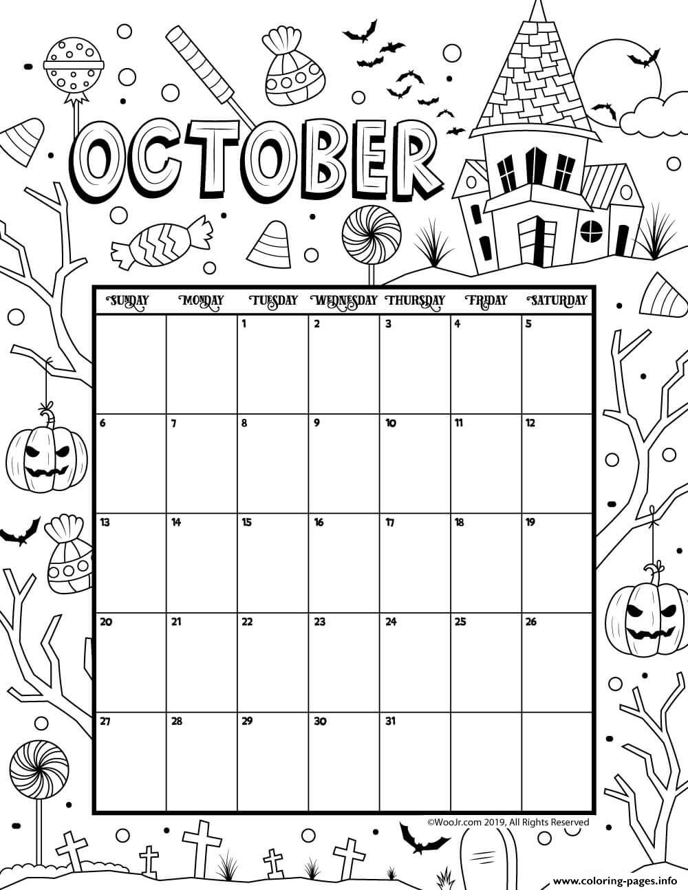 October Coloring Calendar 2019 Coloring Pages Printable