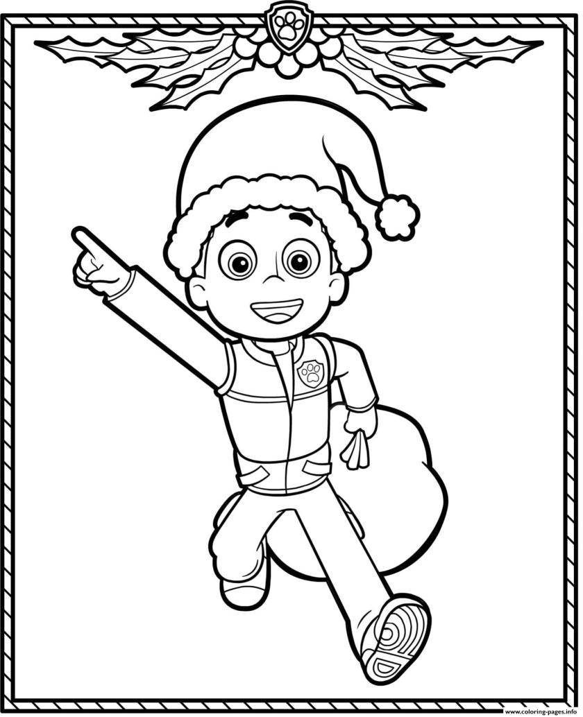 paw patrol holiday christmas ryder coloring pages printable