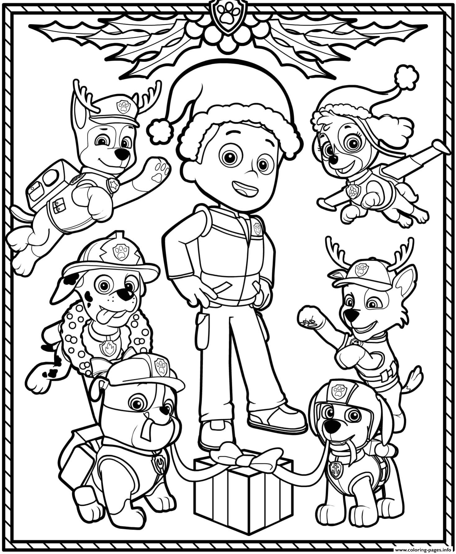 Christmas Paw Patrol Coloring Pages : christmas, patrol, coloring, pages, Patrol, Holiday, Christmas, Coloring, Pages, Printable