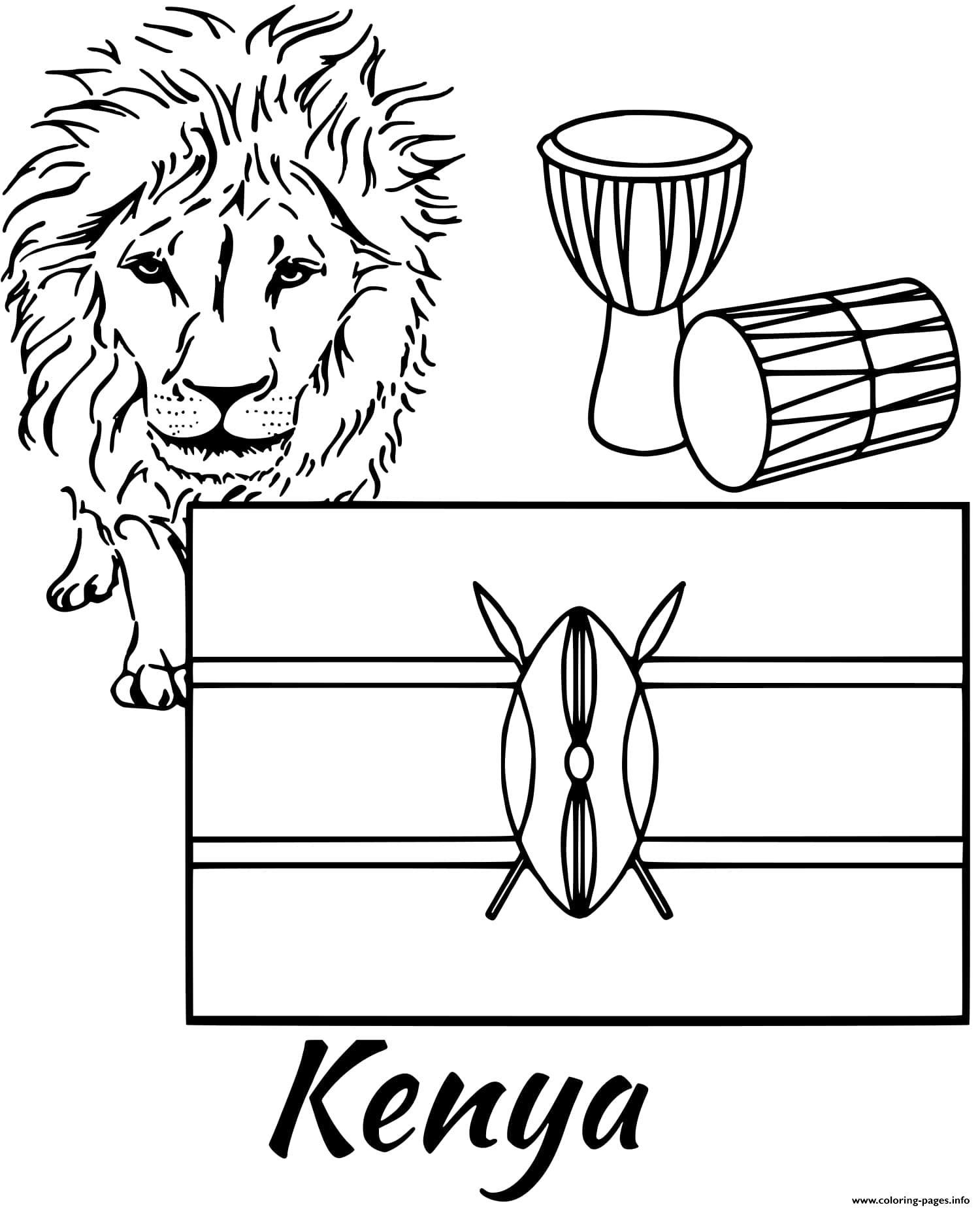 Kenya Flag Coloring Page