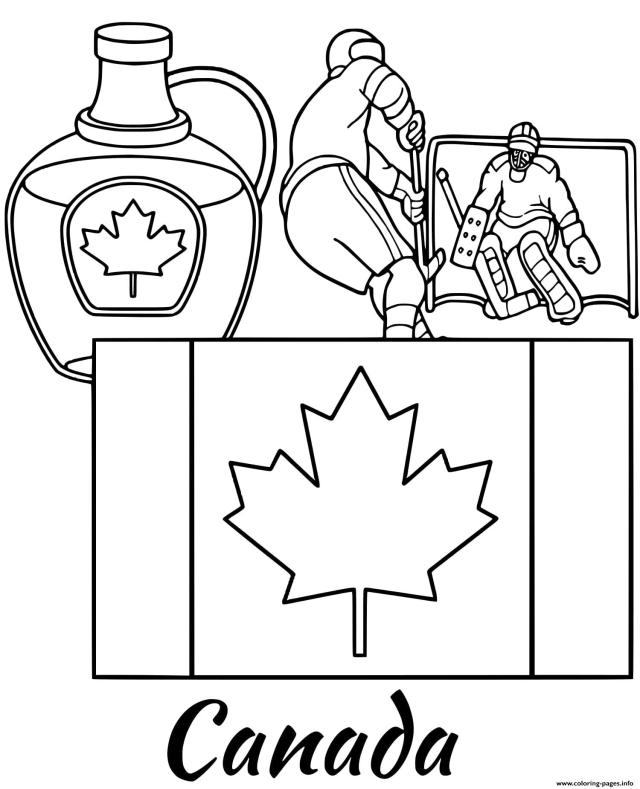 Canada Flag Maple Syrup Coloring Pages Printable