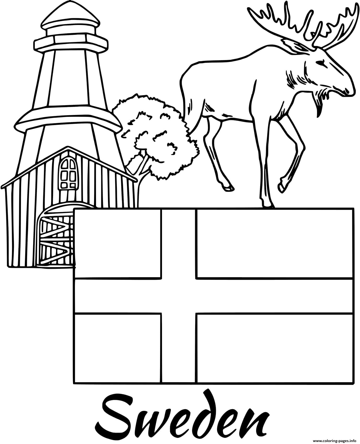 Sweden Flag Coloring Pages