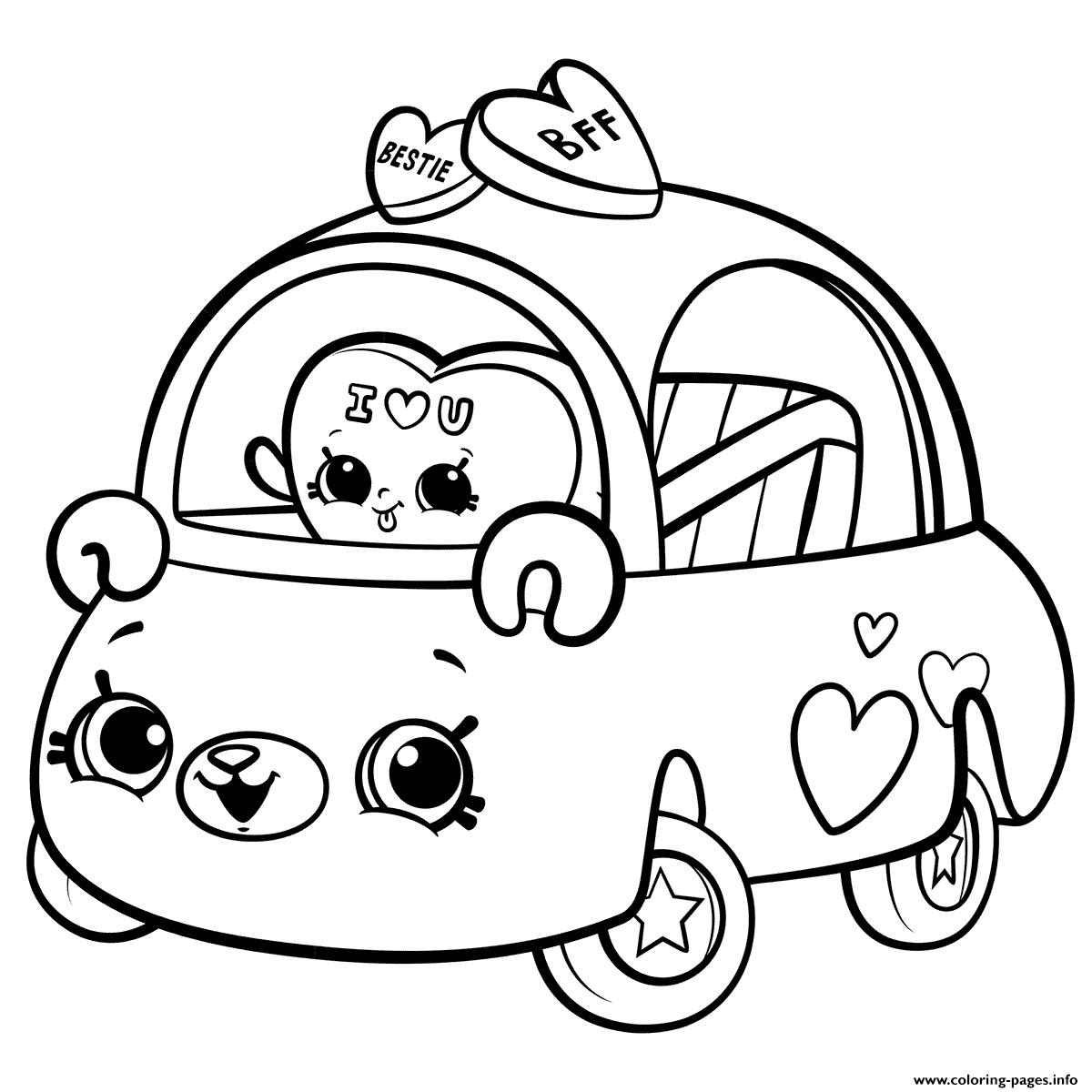 Cutie Cars For Girls Coloring Pages Printable