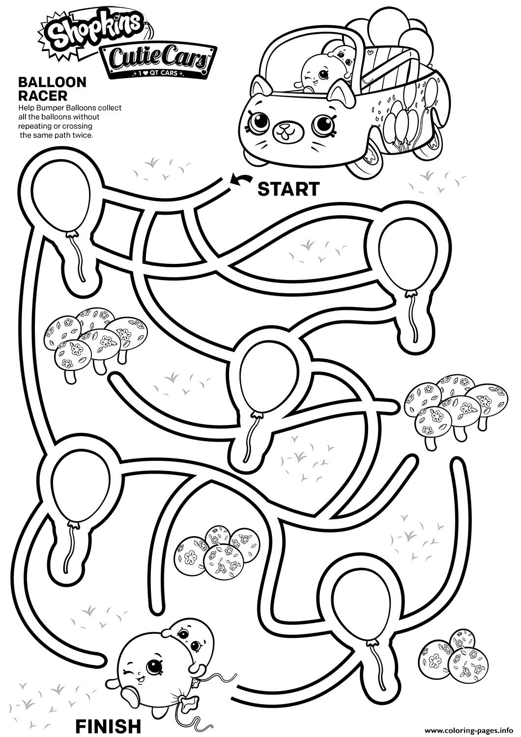 Easy Shopkins Maze For Kids Coloring Pages Printable
