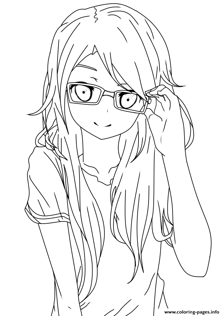 Girl With Glasses Lineart Coloring Pages Printable