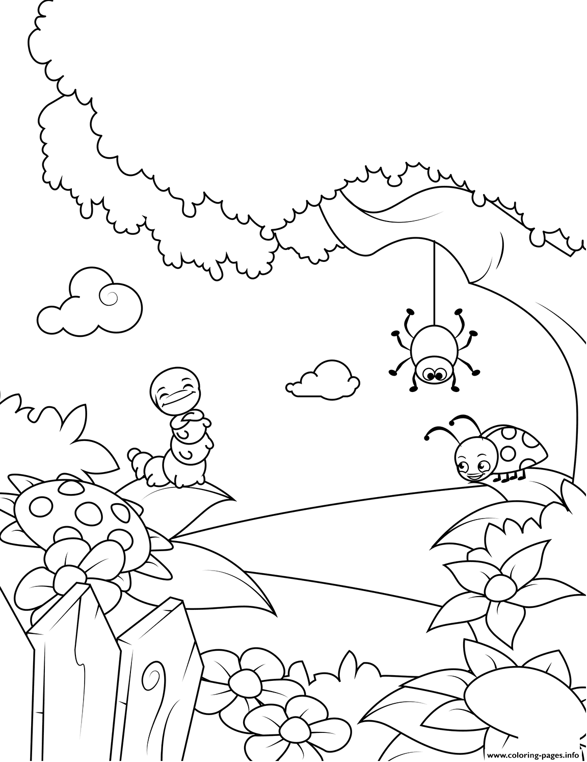Lovely Insects Rejoice In Spring Warmth Coloring Pages