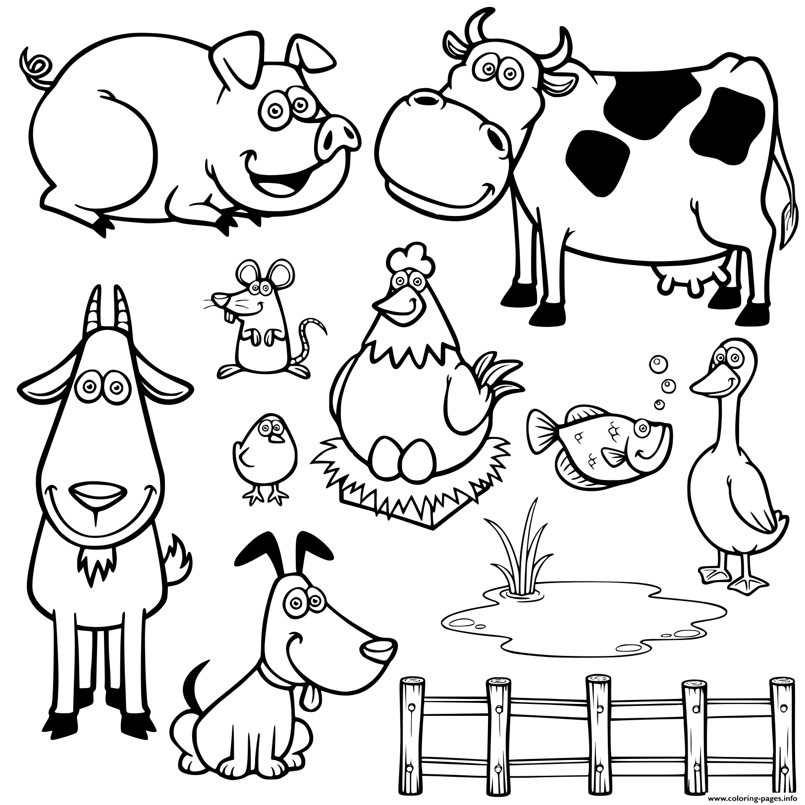 Cute Farm Animals Kids Coloring Pages Printable