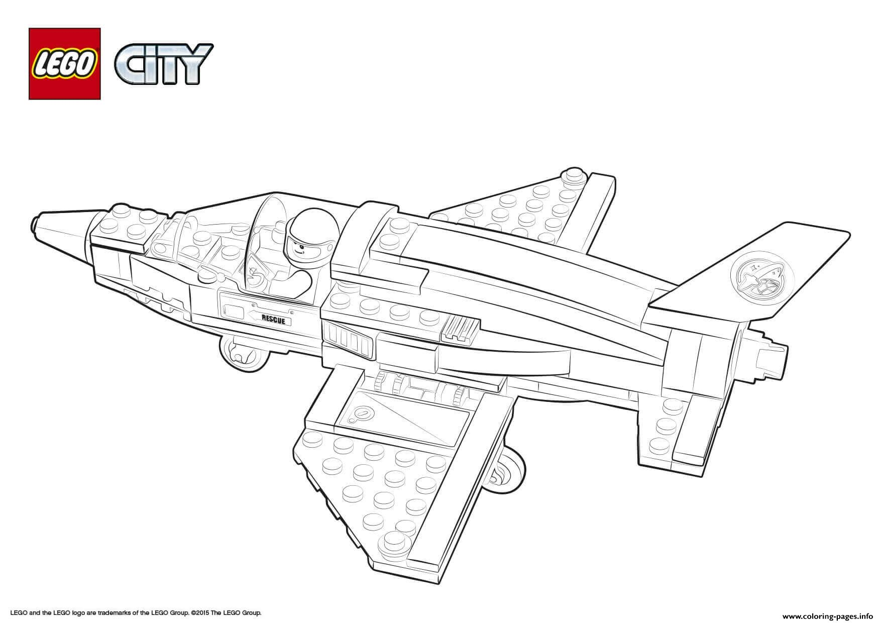 Lego City Rescue Training Jet Transporter Coloring Pages