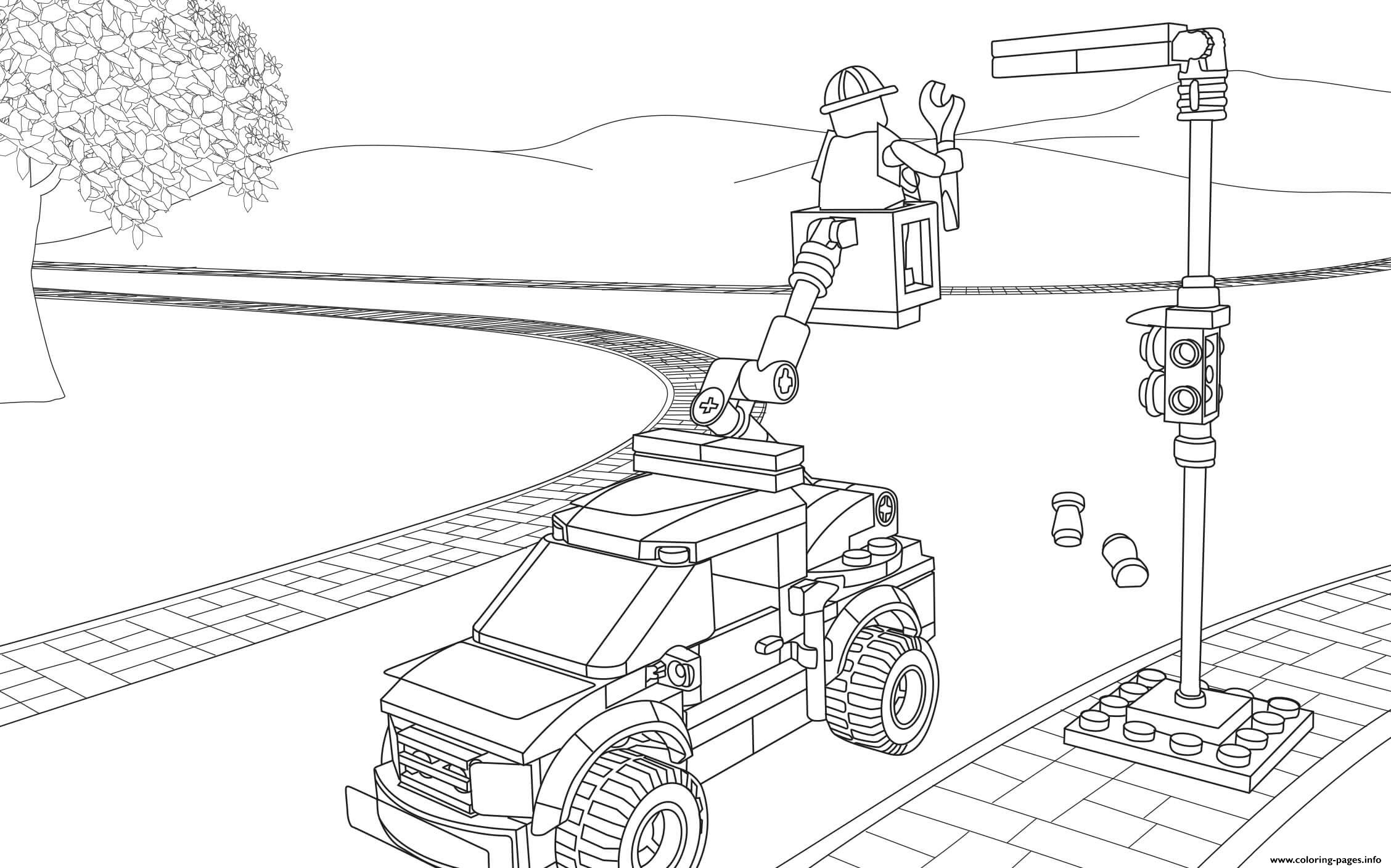 Lego City Light Repair Truck Coloring Pages Printable
