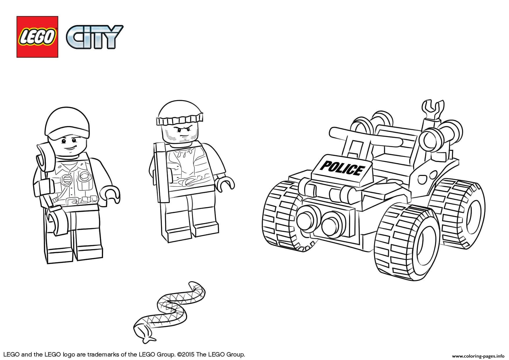 Lego City Atv Patrol Police Coloring Pages Printable