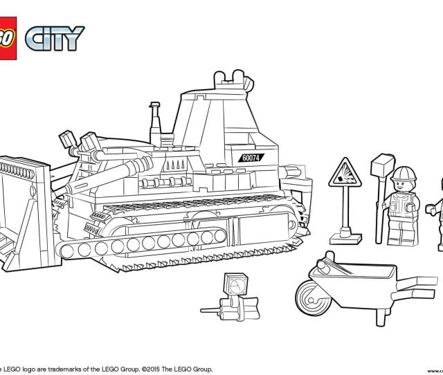 Lego City Bulldozer Construction Coloring Pages Printable