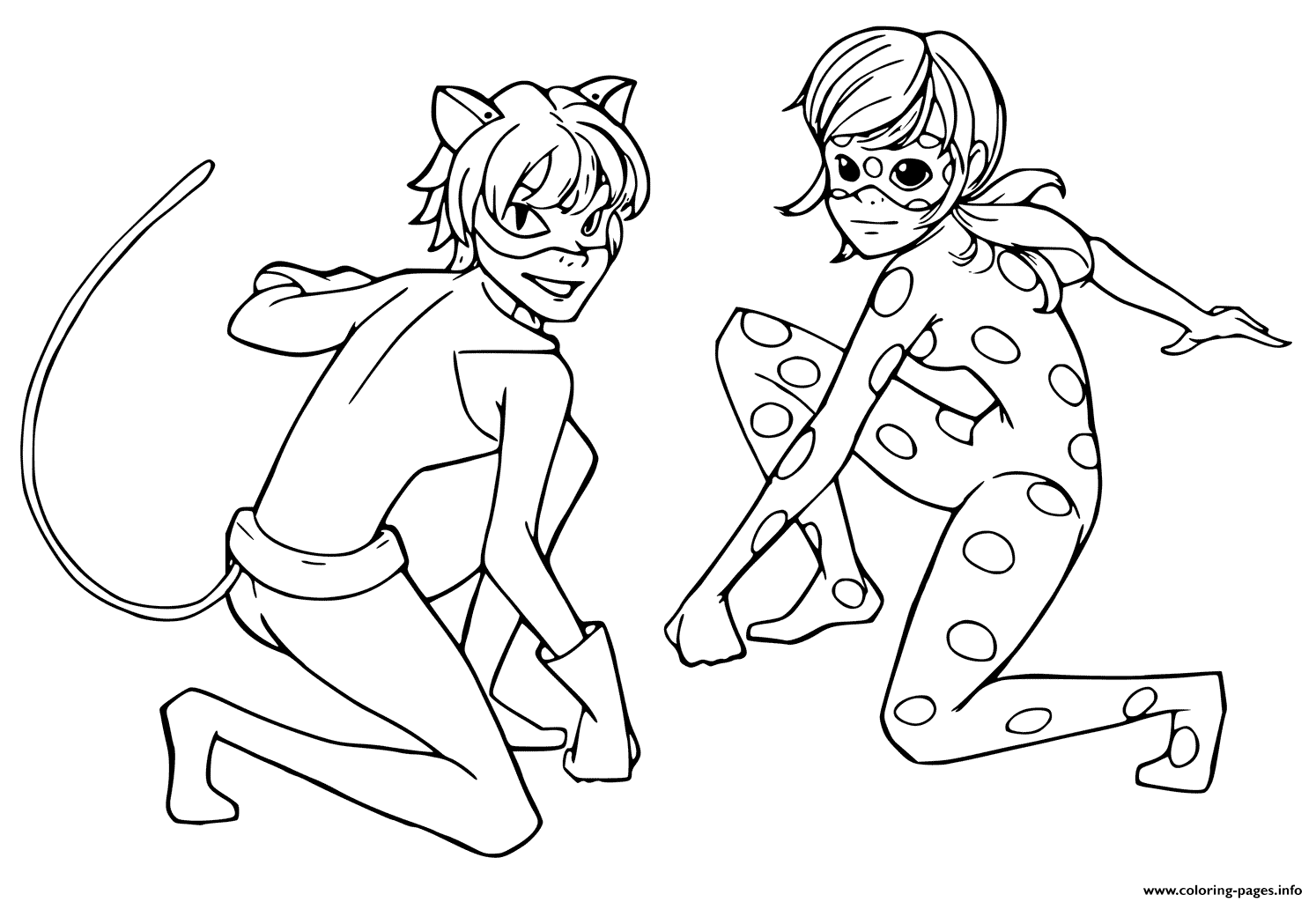 Miraculous Tales Of Ladybug Black Cat Coloring Pages Printable