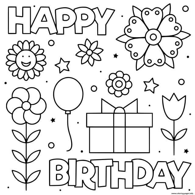Happy Birthday Black And White Flowers Coloring Pages Printable
