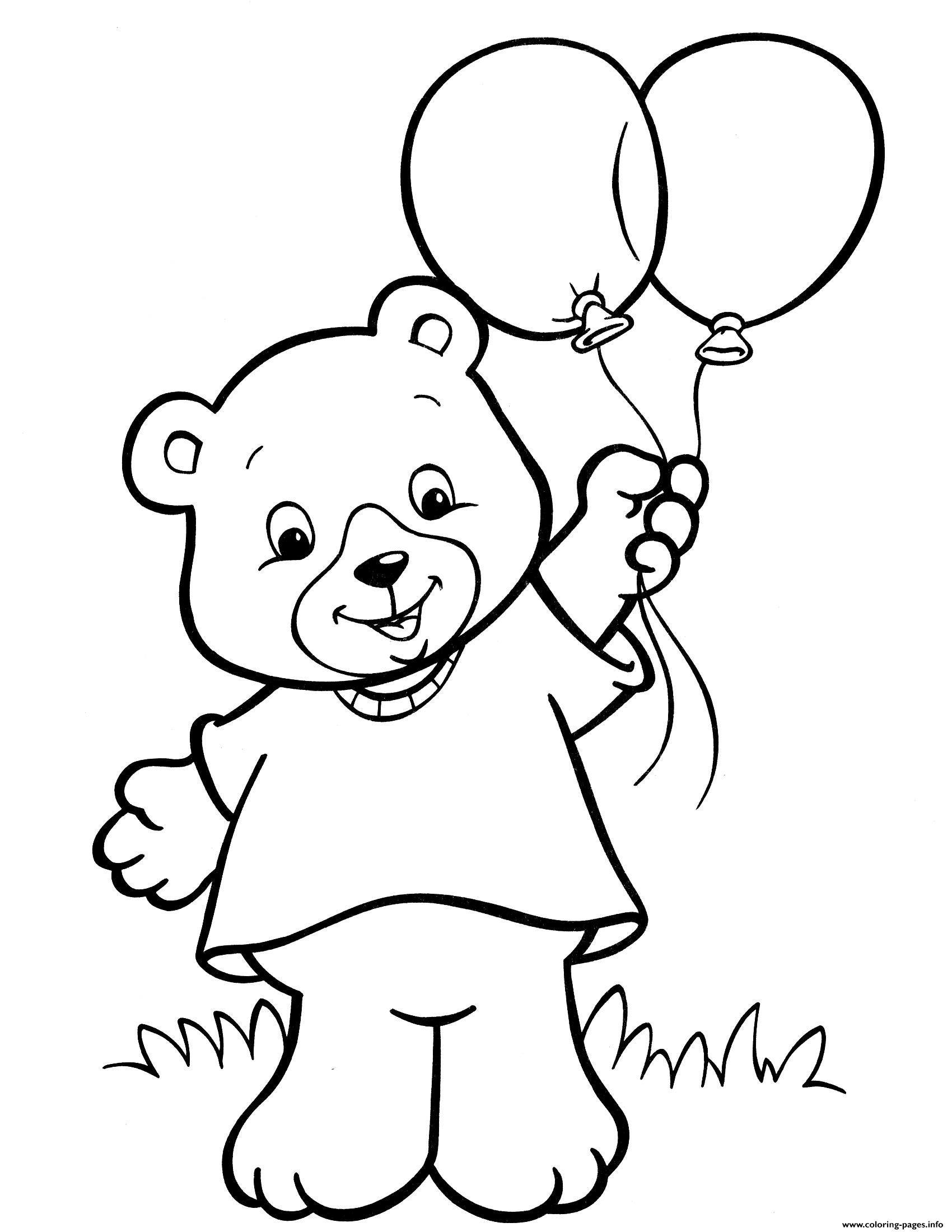 Crayola Teddy Bear Balloon Coloring Pages Printable