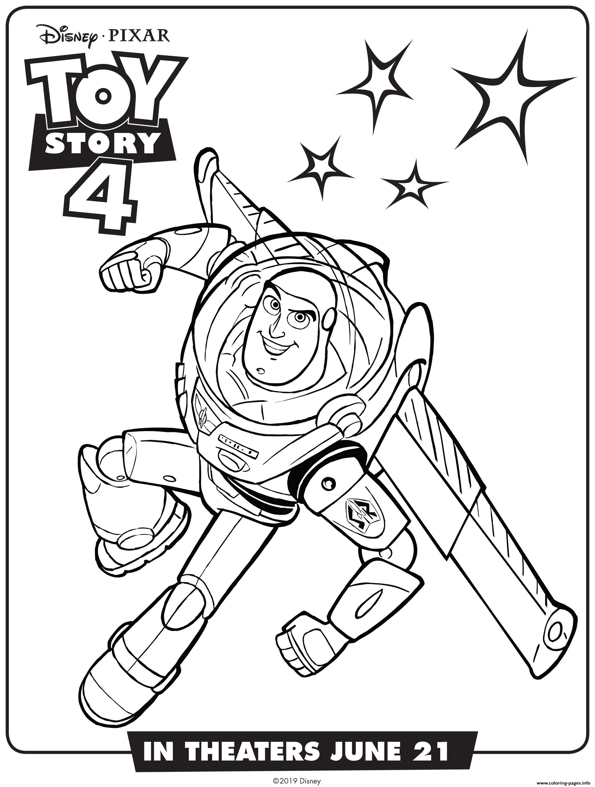 Toy Story 4 Buzz Lightyear Coloring Pages Printable
