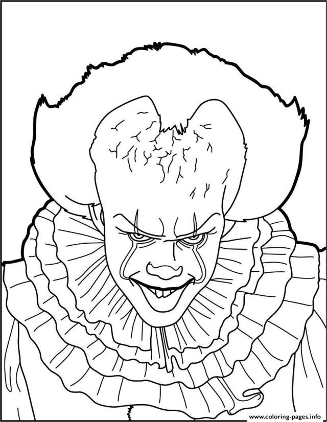 Scary Clown Pennywise Coloring Pages Printable