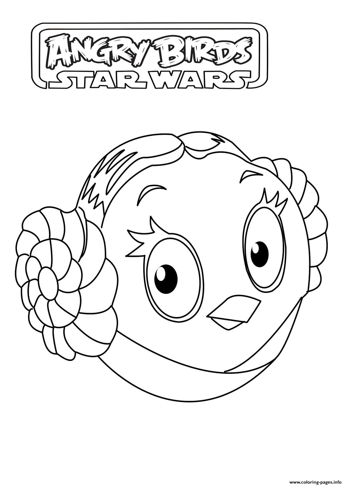 Kids Angry Birds Star Wars Leia Organa Coloring Pages