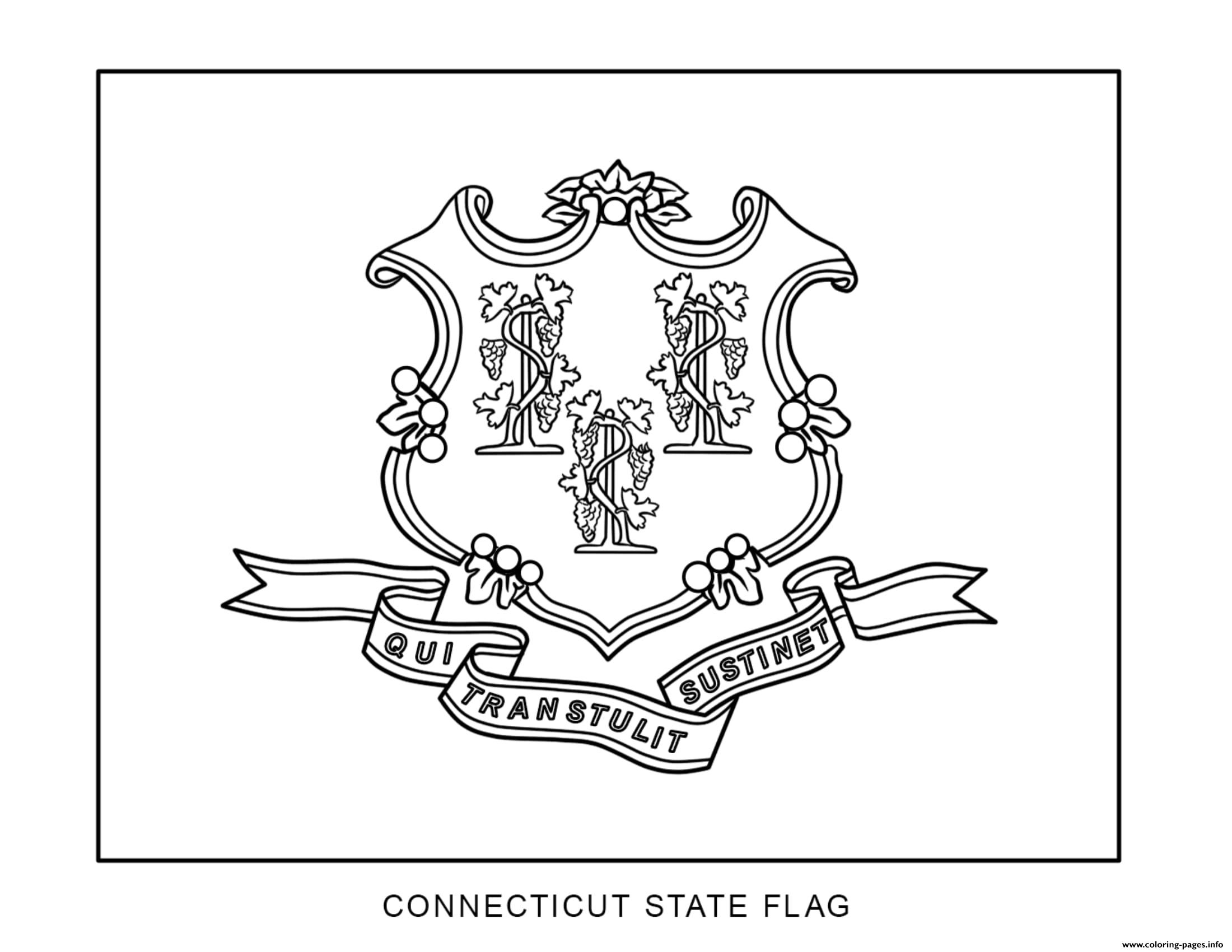 Connecticut Flag Us State Coloring Pages Printable