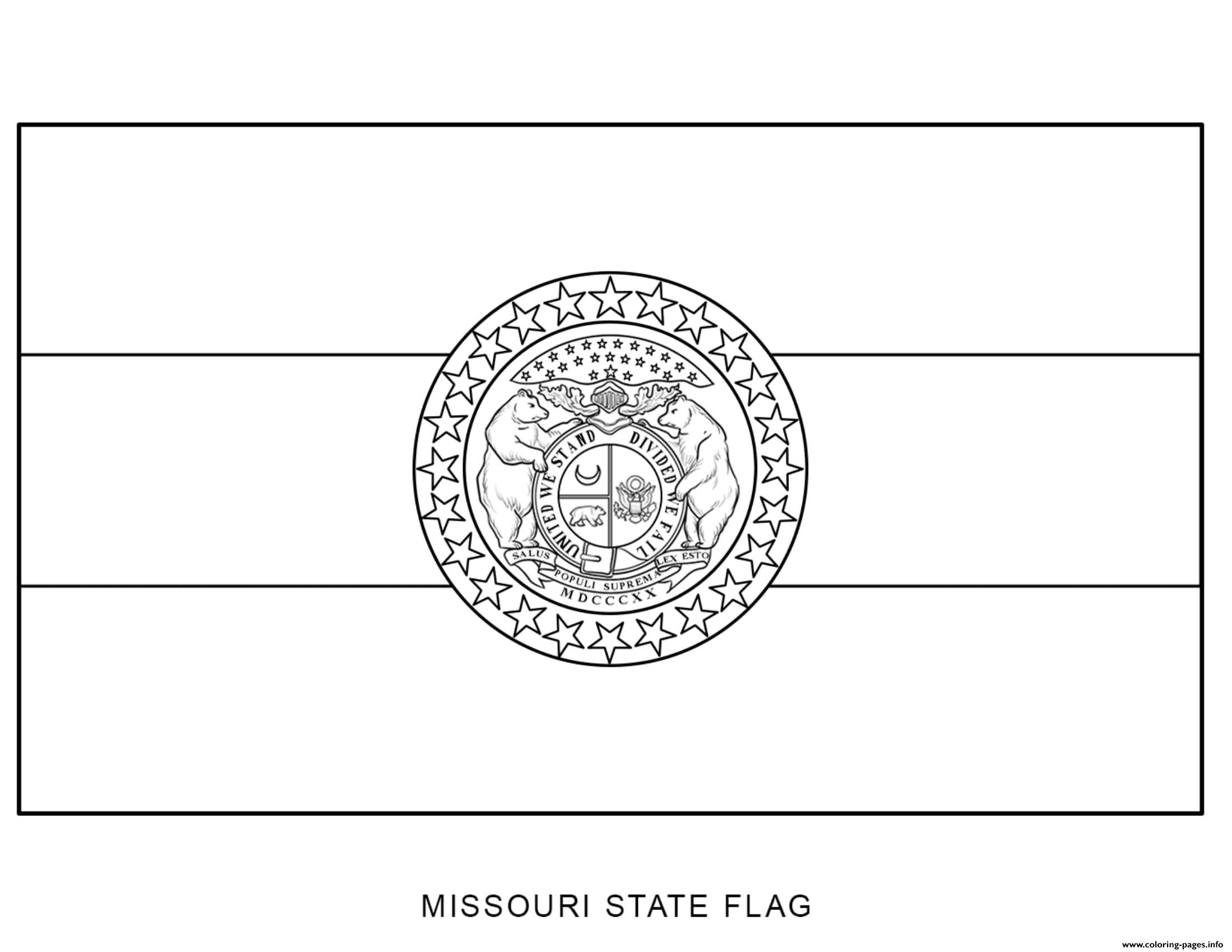 Missouri Flag Us State Coloring Pages Printable