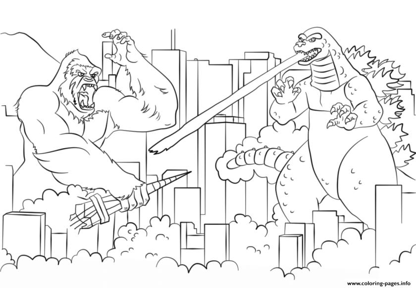 king kong vs godzilla 1962 movie coloring pages printable