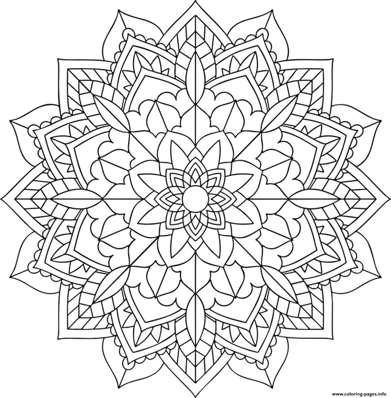 Floral Mandala Easy Coloring Pages Printable
